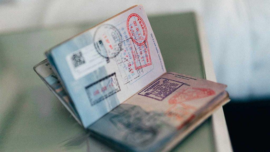 Visa internship Bali in passport
