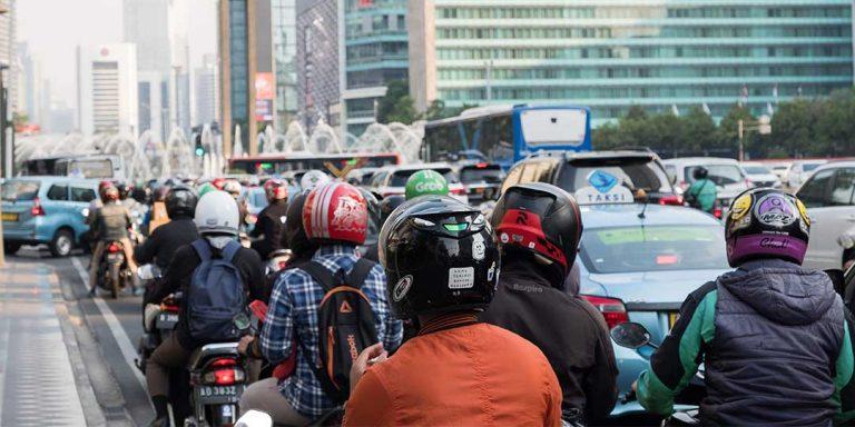 Scooter traffic in Jakarta