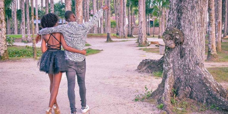 Couple hand in hand in Suriname