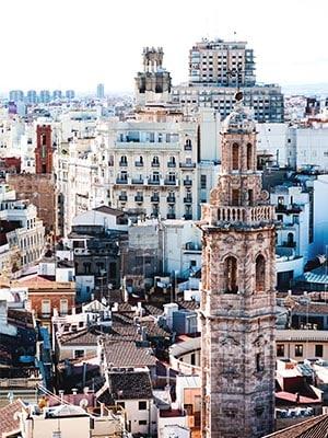 Cityview over Valencia in Spanje