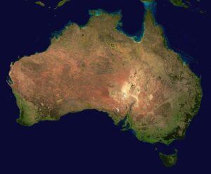 Het continent australie vanaf boven voor stage in Australie