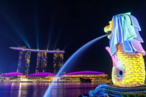 marina bay singapore bij nacht