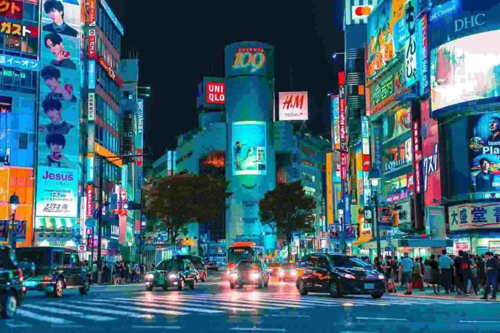 Kosten stage Japan op straat in de nacht