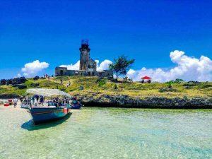 Boot aan de kust in Mauritius