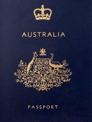 Blue Australian passport with a visa.